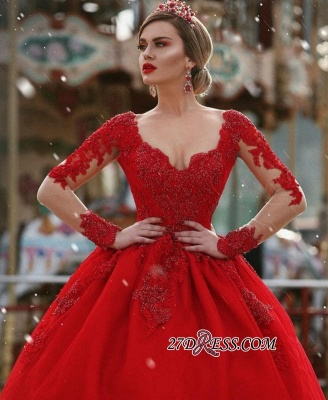V-Neck Gorgeous Red Long Sleeve Lace 2020 Evening Dress BA7213_3