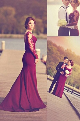 Gorgeous Long Sleeves Lace Appliques Evening Dress 2020 Mermaid Floor-Length_1