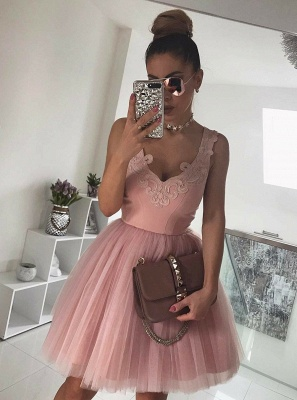 Newest Straps Sleeveless Lace Short Homecoming Dress | 2020 Mini Homecoming Gown_3