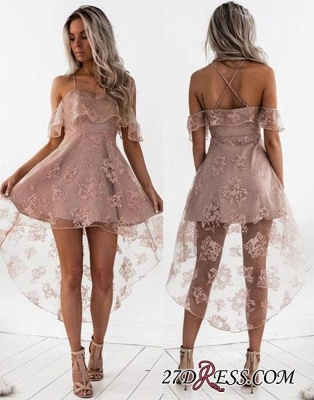 Short Hight-low Lace A-line Cute Homecoming Dress BA7000_2