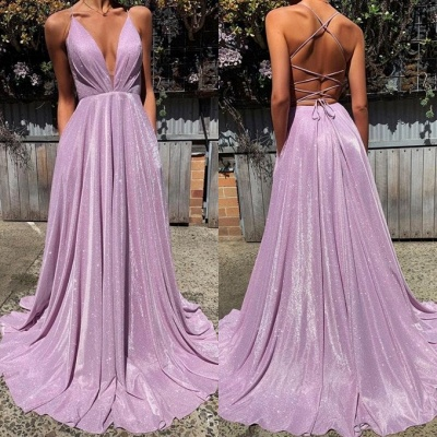 Gorgeous Spaghetti-Straps Long 2020 Prom Dress | Sequins V-Neck Evening Party Dress BC1727_3