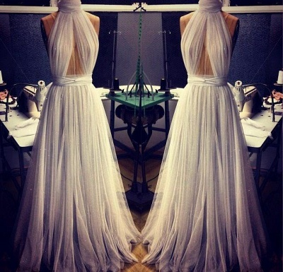 Elegant White High-Neck Prom Dresses 2020 Long Evening Party Gowns_3
