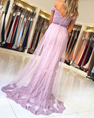 Glamorous Off-the-Shoulder Lace Evening Gowns | 2020 Lace Tulle Prom Dresses_2