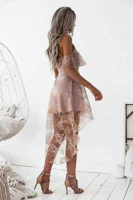 Short Hight-low Lace A-line Cute Homecoming Dress BA7000_5
