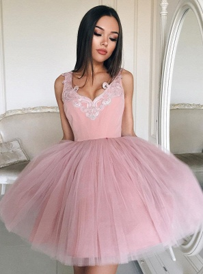Newest Straps Sleeveless Lace Short Homecoming Dress | 2020 Mini Homecoming Gown_1