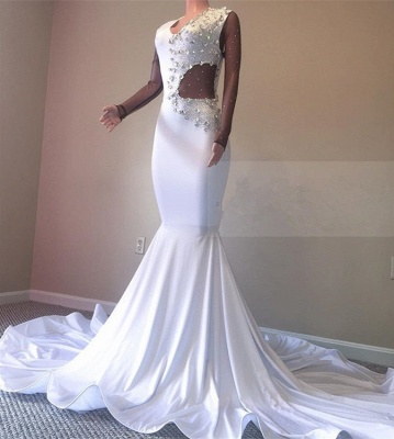 Elegant White Mermaid Prom Dresses | 2020 Crystal Evening Gowns BC0692_2