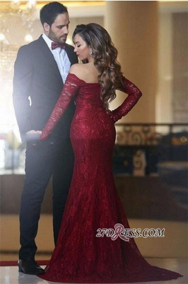 Lace Off-the-shoulder Red Elegant Long Long-Sleeve Mermaid Evening Dress BA3596_1