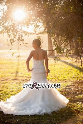 Sweep-Train Sweetheart Gorgeous Wedding Mermaid Tulle Lace-up Beads LDress_1