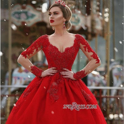 V-Neck Gorgeous Red Long Sleeve Lace 2020 Evening Dress BA7213_2