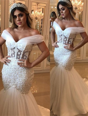 Delicate Off-the-shoulder Mermaid Beads Wedding Dress | White Bridal Gown_1