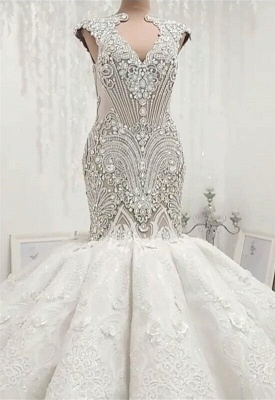 New Arrival V Neck Cap Sleeve Mermaid Wedding Dress | Lace Appliques Crystals Bridal Gown On Sale BC0502_4