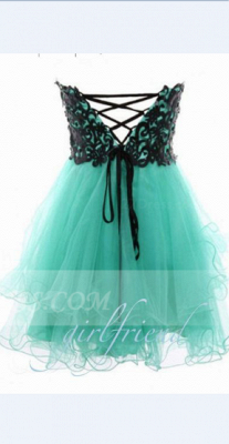 Appliques Sexy Short Cocktail Dresses Green 2020 Homecoming Sweetheart Sleeveless Organza Tiered Lace-up Gowns_2
