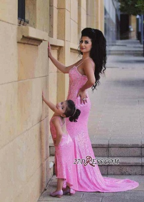 Pink Mermaid Sequined Open-Back Spaghetti-Straps Sexy Crystal Prom Dress_3