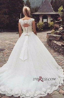 Lace-Up Back Capped-Sleeves Ball Gown Bow Wedding Dresses_2