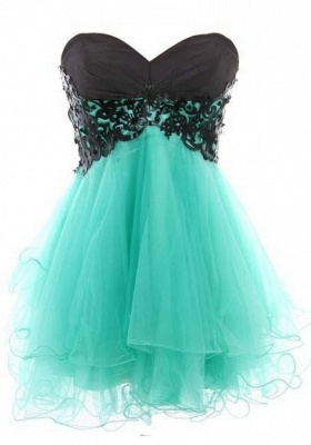 Appliques Sexy Short Cocktail Dresses Green 2020 Homecoming Sweetheart Sleeveless Organza Tiered Lace-up Gowns_3