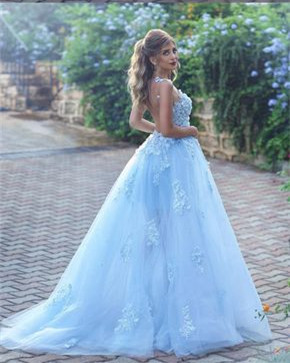 Baby Blue Gorgeous Sleeveless 2020 Evening Dress Long Tulle With lace Appliques BA7515_3