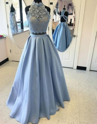 Two-pieces Blue Lace Long High-neck A-line Prom Dress_2