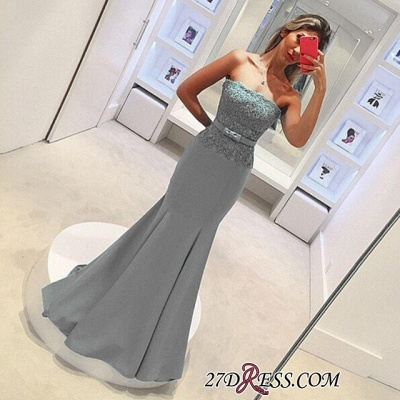 2020 Strapless Lace Sleeveless Delicate Mermaid Bow Prom Dress_1