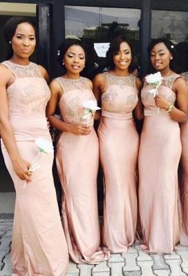 Chic Pink Sleeveless 2020 Bridesmaid Dresses Mermaid With Lace Appliques_1