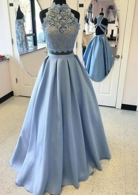 Two-pieces Blue Lace Long High-neck A-line Prom Dress_1