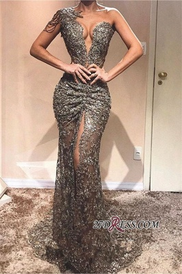 Sexy Front Slit Sleeveless Prom Dresses | Cheap Sequins One-Shoulder Mermaid Party Dresses_1