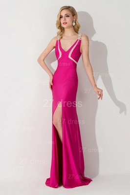 Sexy Front Split Bodycon Evening Dress Crystals Sweep Train_2