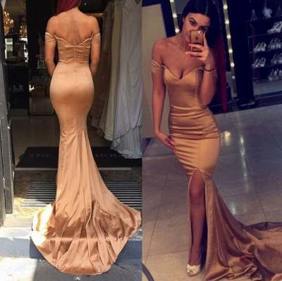 Sexy Off the Shoulder Mermaid Evening Dress 2020 Zipper Back Prom Gown_3