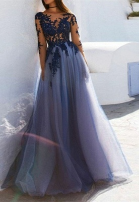 Elegant Long Sleeve Prom Dress With Lace Appliques   2020 Tulle Long Evening Gown_3