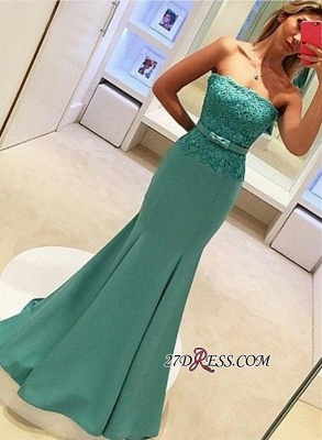2020 Strapless Lace Sleeveless Delicate Mermaid Bow Prom Dress_3