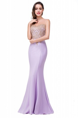 Sexy Illusion Appliques Mermaid 2020 Prom Dress Zipper Floor-length_1