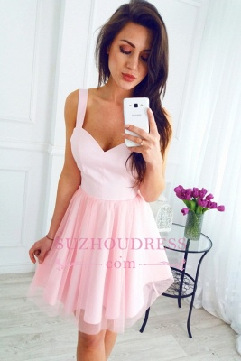 Sleeveless Newest Pink Short A-line Straps Homecoming Dress_1