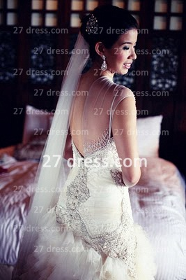 Bateau Wedding Dresses Bridal Gowns with 2020 Custom Made Backless Cap Sleeves Beaded Appliques Court Train A-line_3