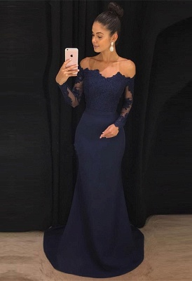 Navy Off-the-Shoulder Prom Dress | 2020 Lace Long Sleeve Evening Dress BA9443_1