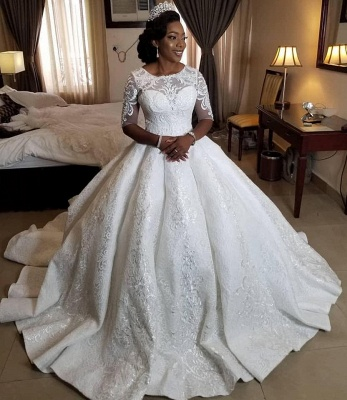 Gorgeous Lace Sheer Tulle Ball Gown Short Sleeve Appliques Bridal Gown_2
