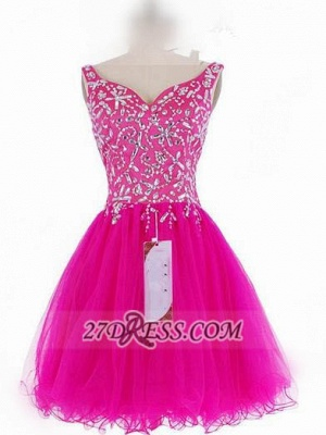 Luxurious Sweetheart Sleeveless Short Homecoming Dress Beadings Crystals Lace-up Fuchsia Cocktail Gown_2
