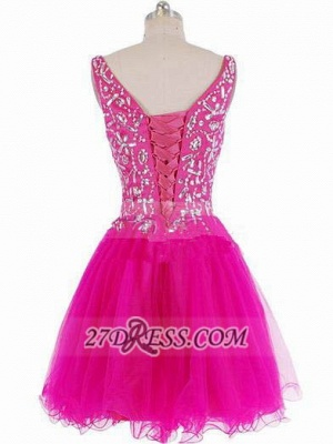 Luxurious Sweetheart Sleeveless Short Homecoming Dress Beadings Crystals Lace-up Fuchsia Cocktail Gown_3