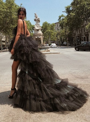 Sexy V-Neck Sleeveless Tulle 2020 Evening Gowns | Hi-Lo Black Layered Prom Dress On Sale_3