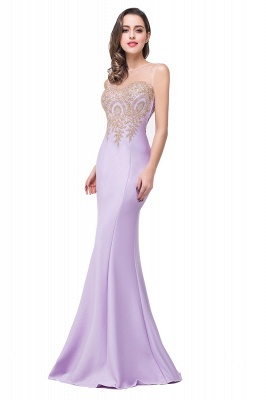 Sexy Illusion Appliques Mermaid 2020 Prom Dress Zipper Floor-length_4