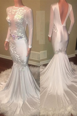Glamorous Long Sleeve Prom Dresses | 2020 Mermaid Evening Gown With Appliques_1