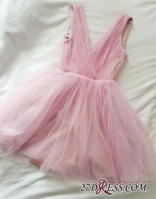 Tulle Cute Short Simple Pink V-neck Homecoming Dress_3