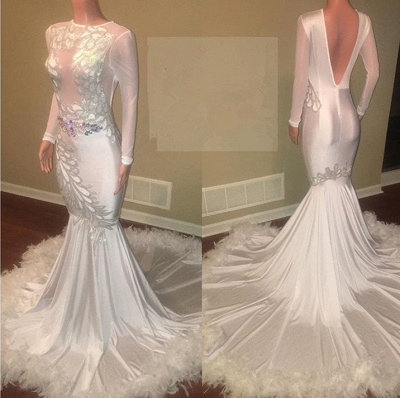 Glamorous Long Sleeve Prom Dresses | 2020 Mermaid Evening Gown With Appliques_2