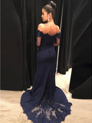 Navy Off-the-Shoulder Prom Dress | 2020 Lace Long Sleeve Evening Dress BA9443_4