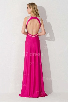 Sexy Front Split Bodycon Evening Dress Crystals Sweep Train_3