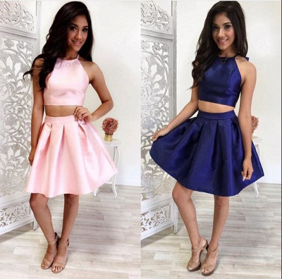 Lovely Halter Sleeveless 2020 Short Homecoming Dress Two Pieces BA4827_3
