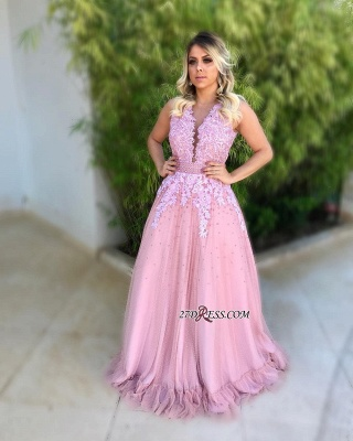 Pink 2020 evening dress, long lace prom gowns_2