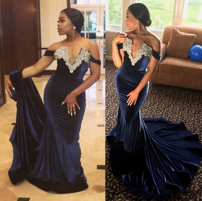 Off-the-Shoulder Mermaid Prom Dress   2020 Formal Gowns_3