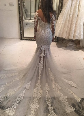 Long Sleeve Lace Wedding Dress | 2020 Mermaid Bridal Gowns On Sale_2