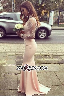 Glamorous Appliques High-Neck Mermaid Long-Sleeves Bridesmaid Dresses BA4287_1