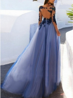 Elegant Long Sleeve Prom Dress With Lace Appliques   2020 Tulle Long Evening Gown_2