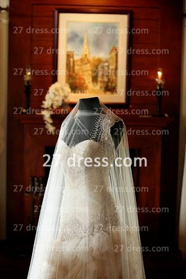Bateau Wedding Dresses Bridal Gowns with 2020 Custom Made Backless Cap Sleeves Beaded Appliques Court Train A-line_4